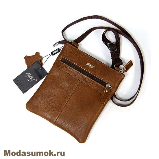 768a8418359b Мужская сумка через плечо из натуральной кожи BB1 940082 светло-коричневая
